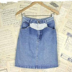 Vintage 80s Striped Denim Details Jean Skirt, S